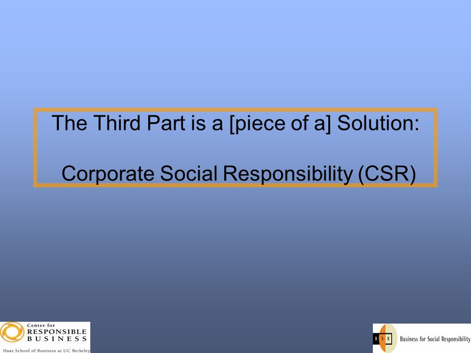 The Third Part is a [piece of a] Solution: Corporate Social Responsibility (CSR)